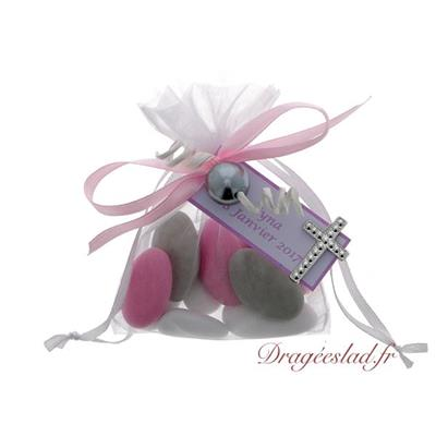 Sachet dragées communion rose perle