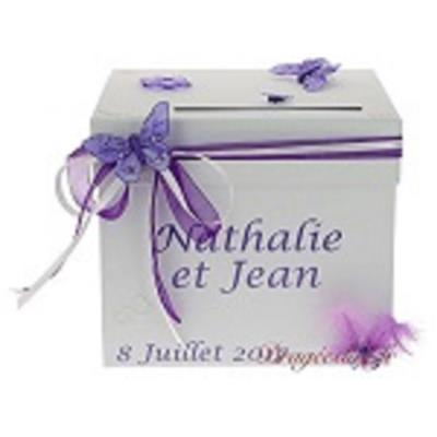 Urne mariage papillon lilas