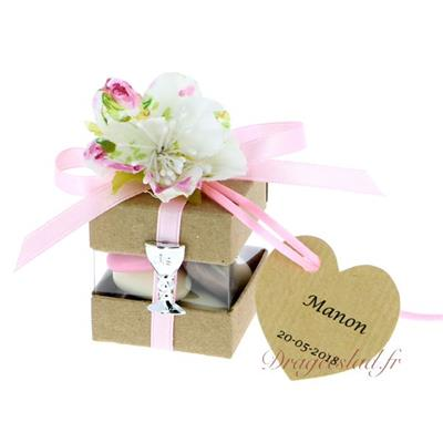 Cube dragées communion kraft fleur shabby