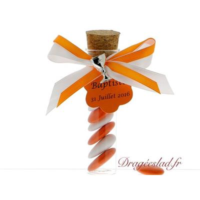 Eprouvette dragées communion orange