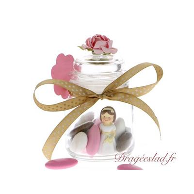 Pot rond dragées communion rose